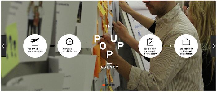 Idea № 277. La Agencia creativa The Pop Up Agency de asesoramiento o servicios de asesores a solicitud
