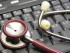 Medical stethoscope on keyboard